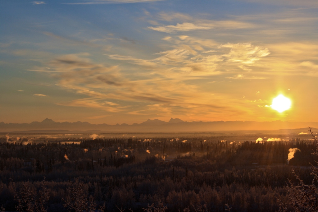Sunset over Fairbanks in the WIntertime