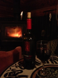 wine in front of the fire