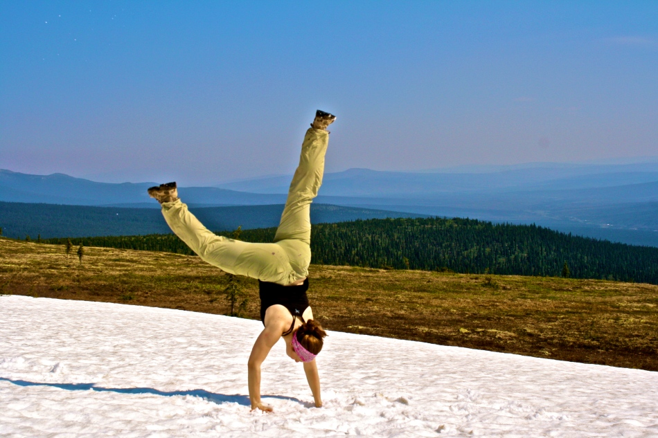 Handstand in the snow