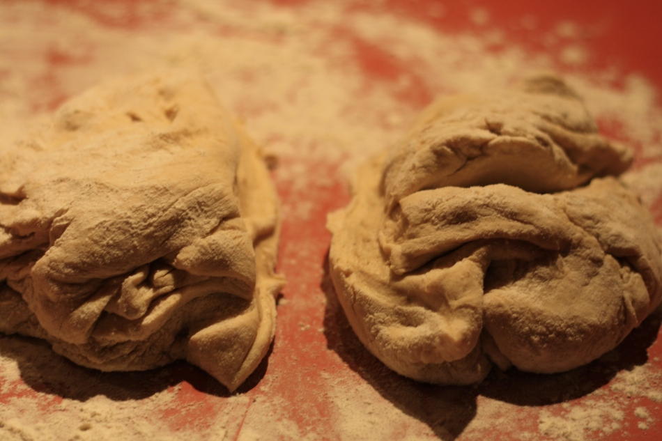 Cut dough in half